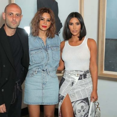 From left: Wardrobe.NYC designers Josh Goot and Christina Centenera with Kim Kardashian West